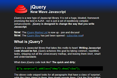 jQuery website in 2006