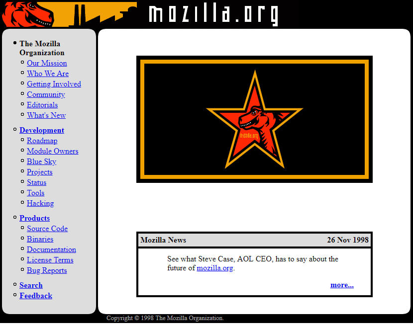 Mozilla.org website in 1998