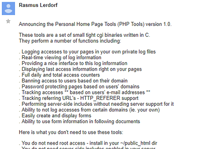 Announcing the Personal Home Page Tools (PHP Tools) version 1.0.
