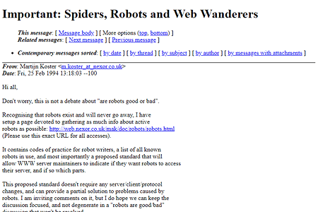Robots.txt  proposal in 1994