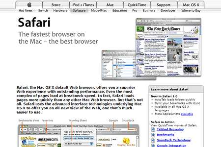 Apple.com and Safari 1.0 website in 2003