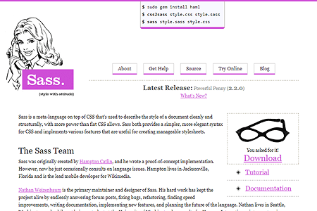 Sass-lang.com website in 2009