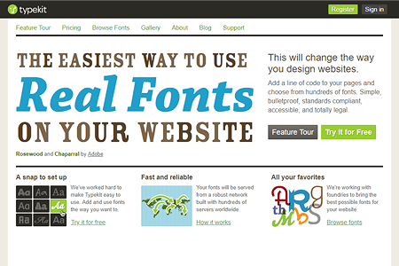 Typekit website in 2010