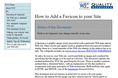 W3C – How to Add a Favicon to your Site