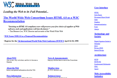 W3C.org website in 1998