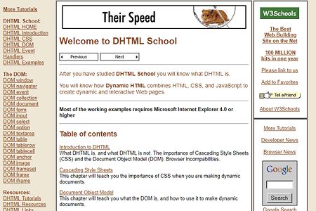 W3Schools DHTML website in 2000