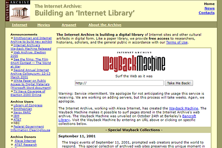 Wayback Machine website in 2001