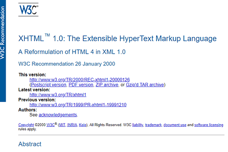 XHTML 1.0 recommendation 1999